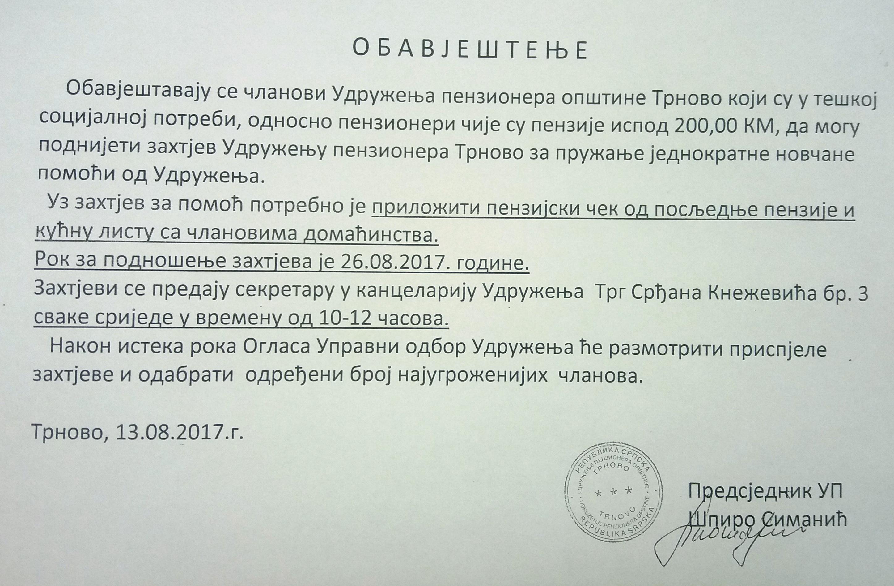 Obavještenje Udruženja penzionera Trnovo