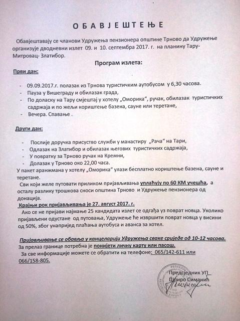 Udruženja penzionera Trnovo organizuje izlet