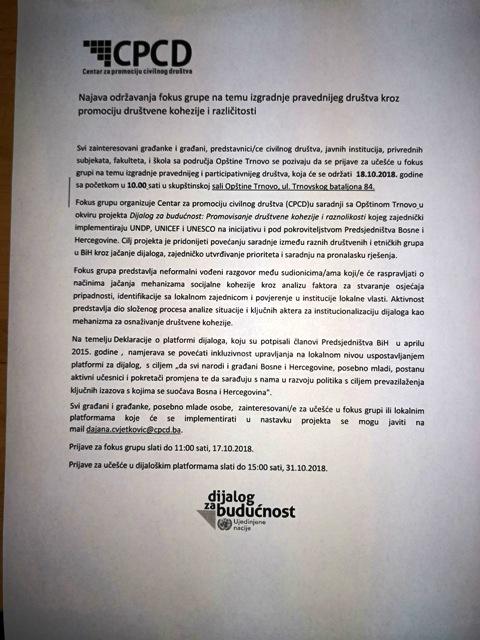 Najava održavanja fokus grupe na temu izgradnje pravednijeg društva u okviru Centra za promociju civilnog društva